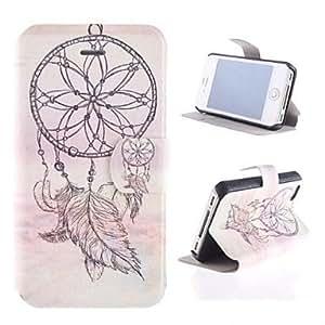 TY- windbell patrón pu caso de cuerpo completo con ranura para tarjetas y soporte para el iphone 4/4s
