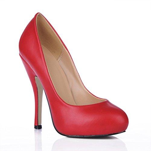 Solo las mujeres caen sentido el reformador banquete del zapato de dama de cabeza redonda grande rojo zapatos de tacón alto fino