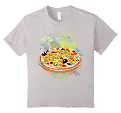 Pizza Vegetables, Olive, Pepper With Grunge T-Shirt