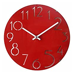 A.Cerco Non Ticking Silent Curve Glass Wall Clock - 12 Red