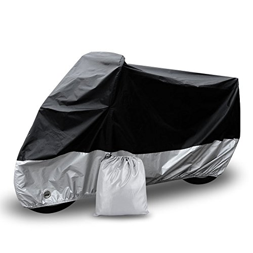 "Motorcycle Cover Universal Fit Oxford Fabric Waterproof Breathable Rain Sun UV Dust Outdoor All Weather Protection with Lock Hole (Fits Motorbike up to 96"", Silver and Black)"