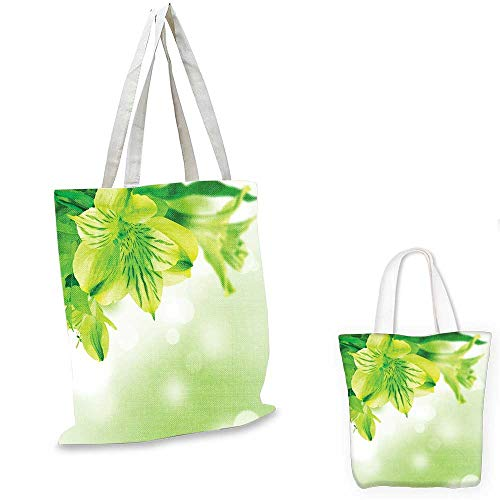 Green small clear shopping bag Fresh Lily Flower Bloom with Leaves Abstract Bokeh Backdrop Garden Plant canvas tote bagLime Green Apple Green. 16