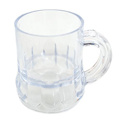 (Mini Clear Plastic Beer Mug Shot Glasses- 1.75