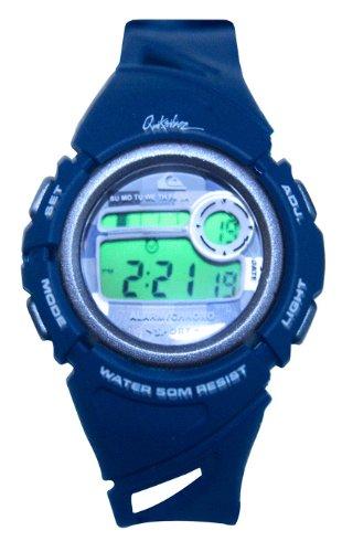 Quiksilver Y001DR/ANVY - Reloj digital infantil de cuarzo con correa de plástico azul (alarma, luz, cronómetro) - sumergible a 50 metros: Amazon.es: Relojes