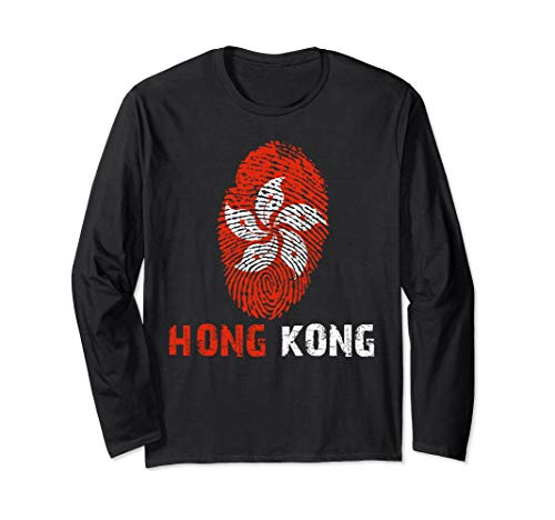 HONG KONG Finger Print Flag Tshirt I Love Travel Tee Long Sleeve T-Shirt