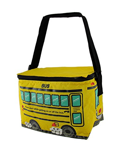 (Bright Yellow School Bus Insulated Vinyl Lunch Bag)