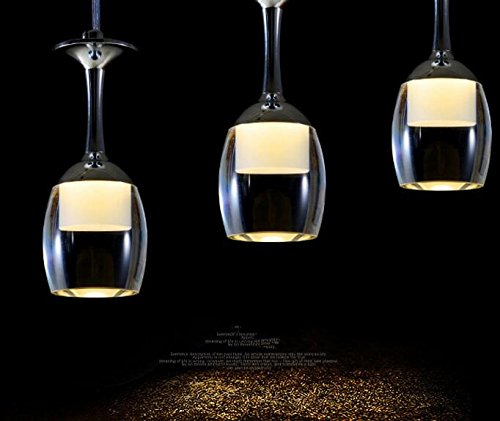 3 Light Drop (Best to Buy Modern K9 Goblet Crystal Drops 5W Pendant Ceiling Lighting Chandelier Lamp Hanging Light for Bar Kitchen room... (3 heads ,warm white,2700K))