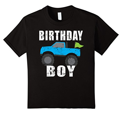 Kids Birthday Boy Monster Truck Shirt For Boys Birthday Party  4 Black