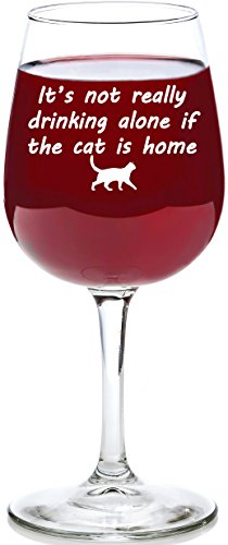 If The Cat Is Home Funny Wine Glass