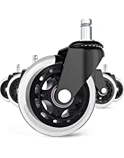 """BF BRIGHTFIELD Universal Office Chair Caster Wheels Set of 5 Heavy Duty & Safe for All Floors Including Hardwood 3"""" Rollerblade Rubber Replacement for Desk Floor Mats"""