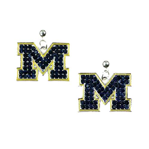 - College Football Michigan Crystal Logo Earrings in Blue and Yellow