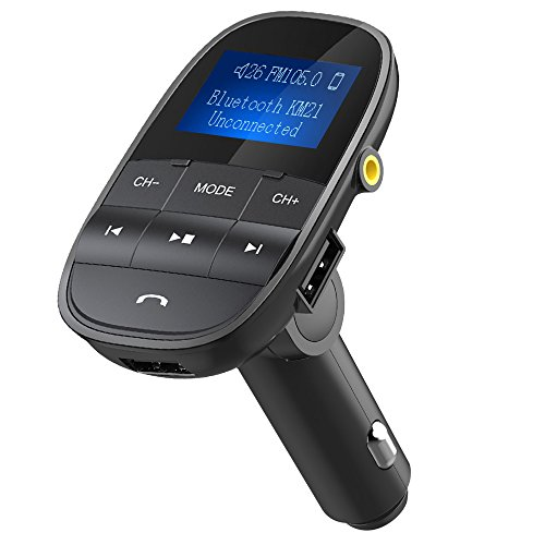 Nulaxy Wireless In-Car Bluetooth FM Transmitter Radio Adapter Car Kit W USB Charger Support USB Flash Drive Micro SD Card AUX Input Output 1.44 Inch LCD Display, Black