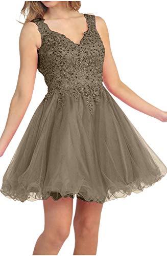 Braun Partykleider Heimkehr Linie Cocktailkleider Mini Marie La A Ausschnitt V Braut Flieder Spitze Tanzenkleider qOWw8AR0
