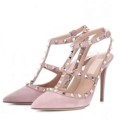 High Pointed Stiletto Heel (Chris-T Women Pointed Toe Studded Strappy Slingback High Heel Leather Pumps Stilettos Sandals Pink Suede Size 11 US)