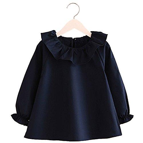 Cotton Little Girls Long Sleeve T-Shirt Princess Blouse Top Uniform 2-7 Year ()