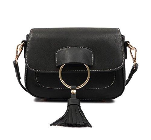 GKKXUE Estilo de personalidad de las mujeres Fringe Bag Temperament Un hombro Messenger Style Bolso de mujer Billetera gratis (Color : Marrón) Negro