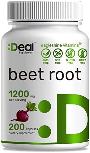 Deal Supplement Beet Root Capsules,1200mg Per Serving, 200 Count, Support Lower Blood Pressure, Improve Performance, Promote Skin Condition Boost Immune System