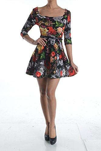 Noble Scallop (Scallop Neck, Belted Skater Dress (Large, Black))