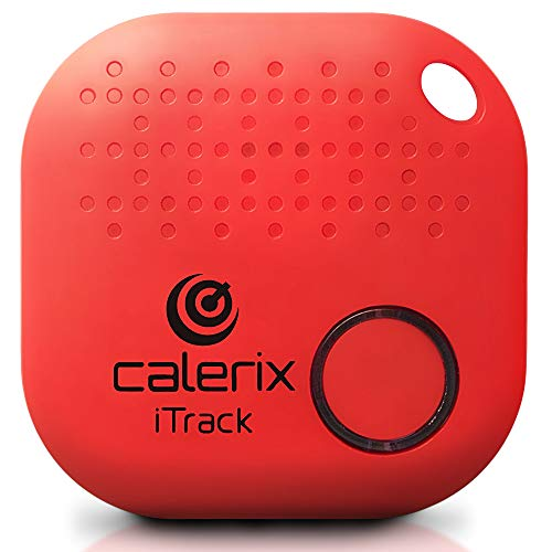 Key Finder Upgrade by Calerix, Anti-Lost Tool for Wallet, Purse, Cell Phone Locator, Car Key, Pram & Pets Tracker, Bluetooth Key Finder with Alarm, GPS Tracking System Wireless Key Finder (Red) -