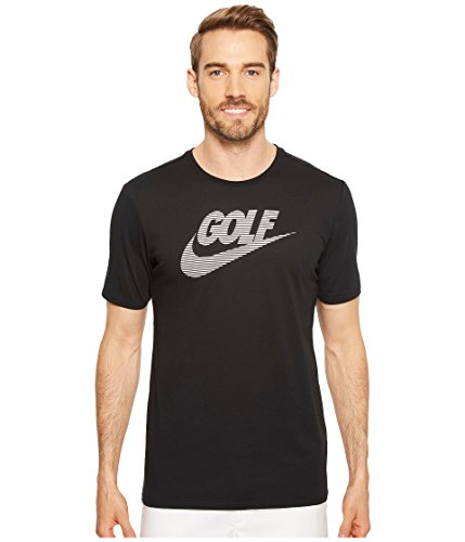 NIKE Men's Dry Short Sleeve Lockup Golf Tee, Black/White, Medium