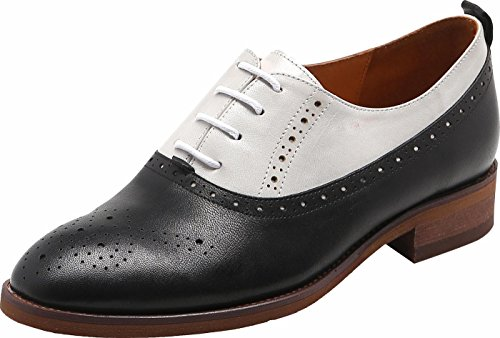 U-lite Womens Perforated Lace-up Round-Toe Brouge Shoes, Multicolor Spring Vintage Oxfords White Black9 by U-lite (Image #1)