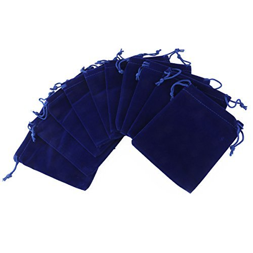 Tinksky Gift Bags Candy Bags Velvet Drawstring Wedding Favor Jewelry Pouch, Pack of 10 (Dark Blue)