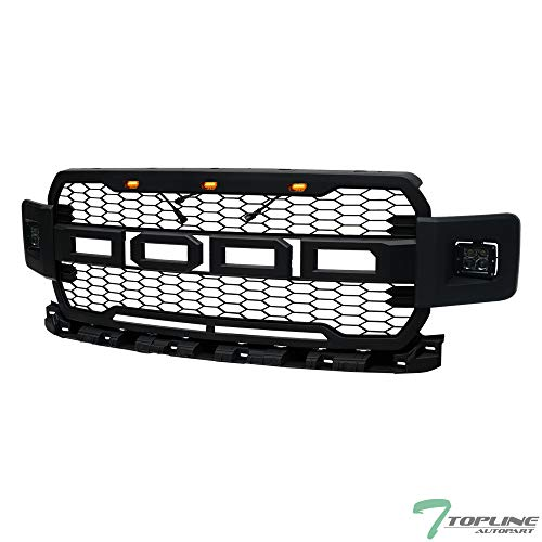 Fog Lamps Billet Grille - Topline Autopart Matte Black RP Style Honeycomb Mesh Front Hood Bumper Grill Grille ABS with Amber Lamps + 12W CREE LED Fog Lights For 18-19 Ford F150
