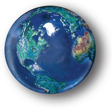 Blue Earth Marble With Natural Earth Continents, Recycled Glass, 5 In A Pouch, 1 Inch Diameter Shasta Visions