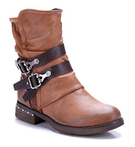 Schuhtempel24 Damen Schuhe Klassische Stiefeletten Stiefel Boots Blockabsatz Schnalle/Nieten 4 cm Camel