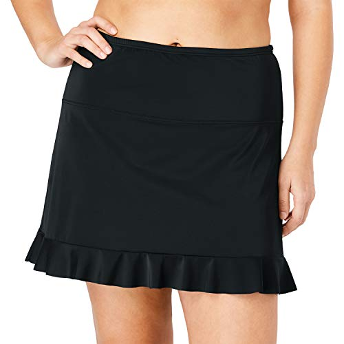 Swimsuits For All Women's Plus Size Ruffle-Trim Swim Skirt with Built-in Brief - Black, 18
