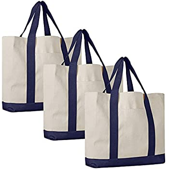 077ae5cfb4c61 Pack of 3 - Heavy Duty Cotton Canvas Twill Travel Tote Bags Large Thick  Reusable Blank