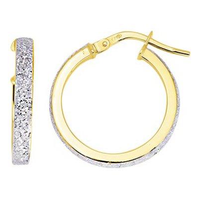 So Chic Bijoux © Boucles d'oreilles Femme Créoles Brillantes Gris Argenté Diamètre 15 mm Fil Rectangle Or Jaune 750/000 (18 carats)