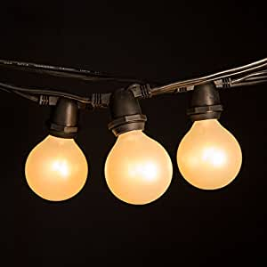 """White Pearl Outdoor Patio Globe String Lights (100 Foot 100 Socket, Commercial - G50 White Pearl 2"""" Bulbs - Black Wire)"""