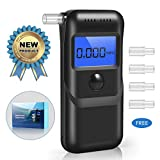 Breathalyzer, Portable Digital Alcohol Detector LCD Screen with 5 Mouthpieces