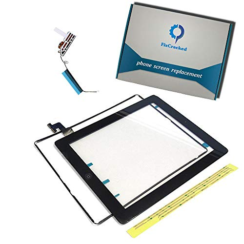(Fixcracked Touch Screen Replacement Parts Digitizer Glass Assembly for Ipad 2 + WIFI Antenna Cable(Black))