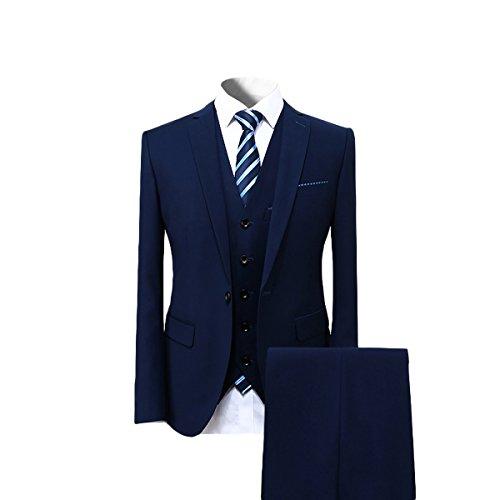 Cloudstyle Mens Suit Solid Color Formal Business One Button 3-Piece Suit Wedding Slim Fit - For Men Wedding Suit