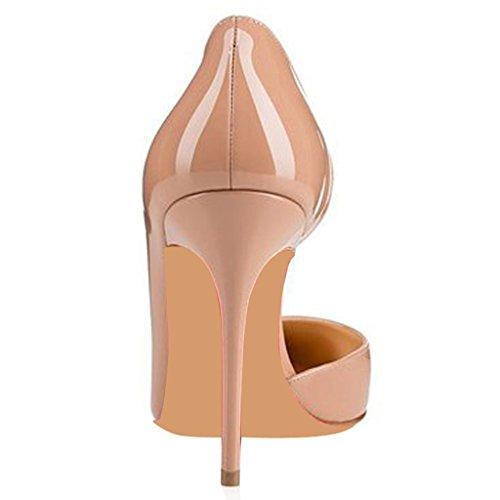 De Tacón Ante Alto Mujer Patentado Jushee Beige Puntiagudo Para Zapatos xB0q4qw6T