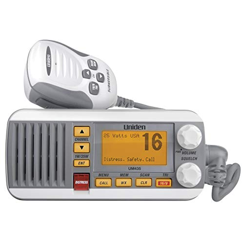 Uniden UM435 Advanced Fixed Mount Vhf Marine Radio, All Usa International Canadian Marine Channels Including New 4-Digit, CDn B Channels, 1 Watt 25 Watt Power, Waterproof IPX8 Submersible, White
