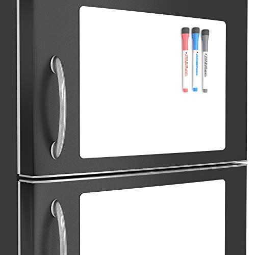 (Magnetic Sheets White Boards for Kids - Large Magnetic Whiteboard Fridge Notepad - Memo Pad Refrigerator Magnet Sheets White - Reusable Whiteboard Vinyl Sheets Clear/Laminated Writing Sheets for Kids)