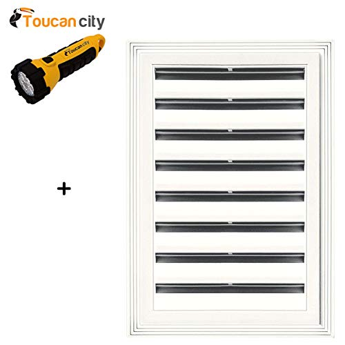 Toucan City LED Flashlight and Builders Edge 12 in. x 18 in. Rectangle Gable Vent #123 White 120061218123
