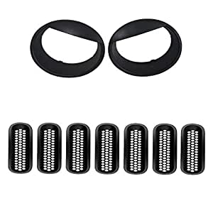 Front Grille Grill Insert and Headlight Trim Turn Light Cover for Jeep Wrangler JK 2007-2017