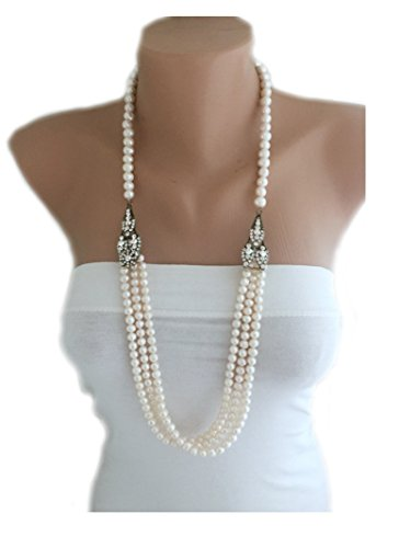 Designer Pearl Necklace, Multi Strand Layered Freshwater Pearl Necklace Free Shipping WW (Pearl Designer)