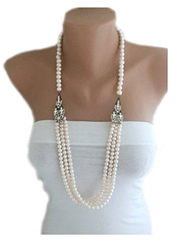 Designer Pearl Necklace, Multi Strand Layered Freshwater Pearl Necklace Free Shipping WW (Designer Pearl)