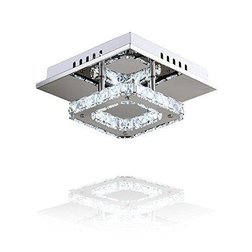 MEEROSEE Mini Modern Crystal Chandelier Lighting Square Flush Mount Ceiling Lamp for Bedroom, Bathroom, Dining Room 8w 8.3