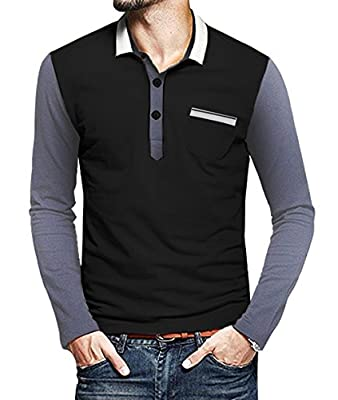 Coofandy Men's Long Sleeve Slim Fit Casual Polo Shirt Fashion T shirt