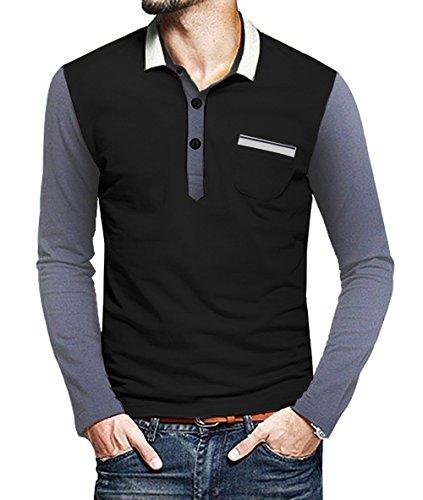 COOFANDY Mens Long Sleeve Slim Fit Casual Polo Shirt Pocket Cotton Fashion T Shirt
