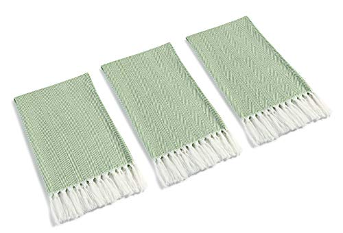 Mia'sDream Turkish Cotton Hand Towel Set Tassels Kitchen Tea Towel Napkin Dish Cloth for Room and Kitchen, 3 Pack, 16inch X 24inch, Green