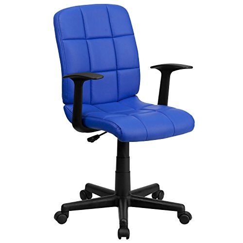 Flash Furniture Mid-Back Blue Quilted Vinyl Swivel Task Chair with Arms