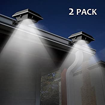 [2 Pack] T-SUN Solar Gutter Lights,6 LED Solar Powered Waterproof Security Lamp for Outdoor Garden, Fence,Outside Garage Door, Tree, wall, Stairs, Anywhere Safety Lite with Bracket, 6000K White(Black)