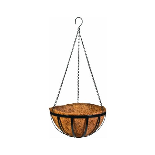 """Gardman R946 Forge Hanging Basket with Coco Liner, 14"""" Wide x 8"""" High"""